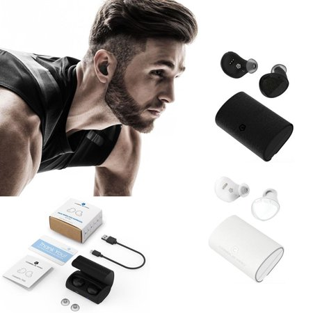 True Wireless Earbuds, True Wireless Headphones, by Bluetooth Headset V4.1 True Wireless In-Ear Stereo Earphones, Mini Twins with Mic & Charging Case, Noise Cancelling for iPhone X 8 7