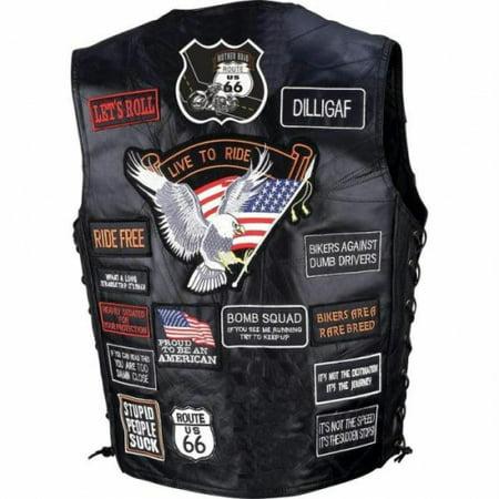 Diamond Plate Genuine Buffalo Leather Biker Vest with 42