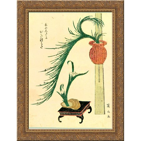 Flower Arranging 24x18 Gold Ornate Wood Framed Canvas Art by Keisai