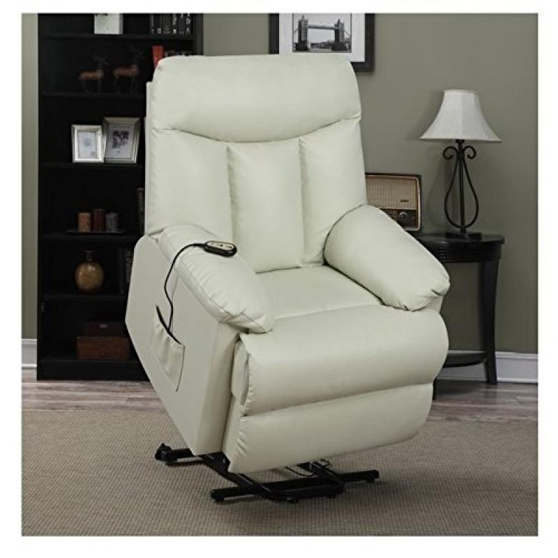 Living Room Upholstered Cream Renu Leather Power Recline and Lift Wall Hugger Chair