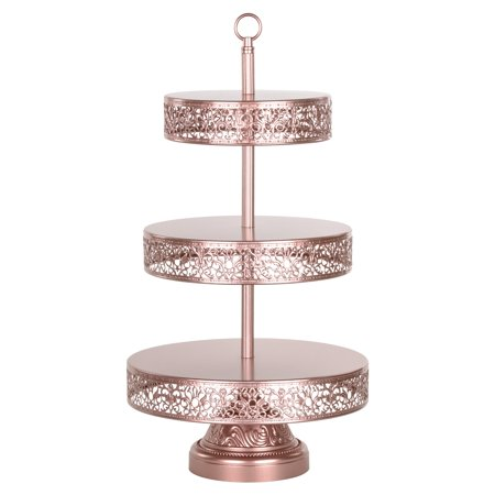Amalfi Décor 3-Tier Reversible Dessert Cupcake Stand (Rose Gold) | Stainless Steel Frame - Silver Cupcake Stand