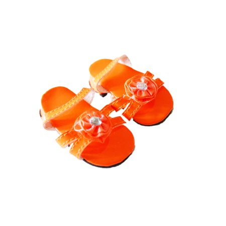 My Brittany's Orange Triple Carnation Summer Sandals For American Girl Dolls and My Life as Dolls- 18 Inch Doll Shoes for American Girl Dolls