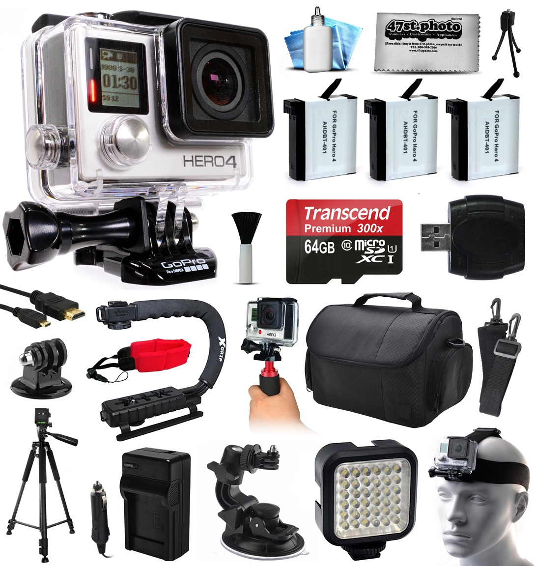 GoPro HERO4 Hero 4 Black Edition 4K Action Camera Camcorder with 64GB MicroSD, 3x Battery, Charger, Large Case, Handle, Tripod, Car Mount, LED Video Light, Head Helmet Strap, Cleaning Kit (CHDHX-401)