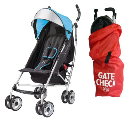 Summer Infant 3D Lite Convenience Stroller with Airport Gate Check Travel Bag, Caribbean Blue