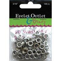 """Eyelet Outlet Eyelets and Washers, 3/16"""", 50 Eyelets, 50 Washers"""