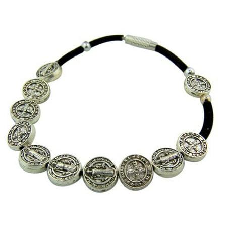 Silver Tone Saint Benedict Medal Black Cord Rosary Bracelet, 8 Inch Catholic Rosary Bracelets