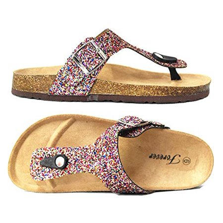 Forever Women's Birken-17 Multi Sparkle Glitter Slip On Casual Sandals, Rainbow, (6)