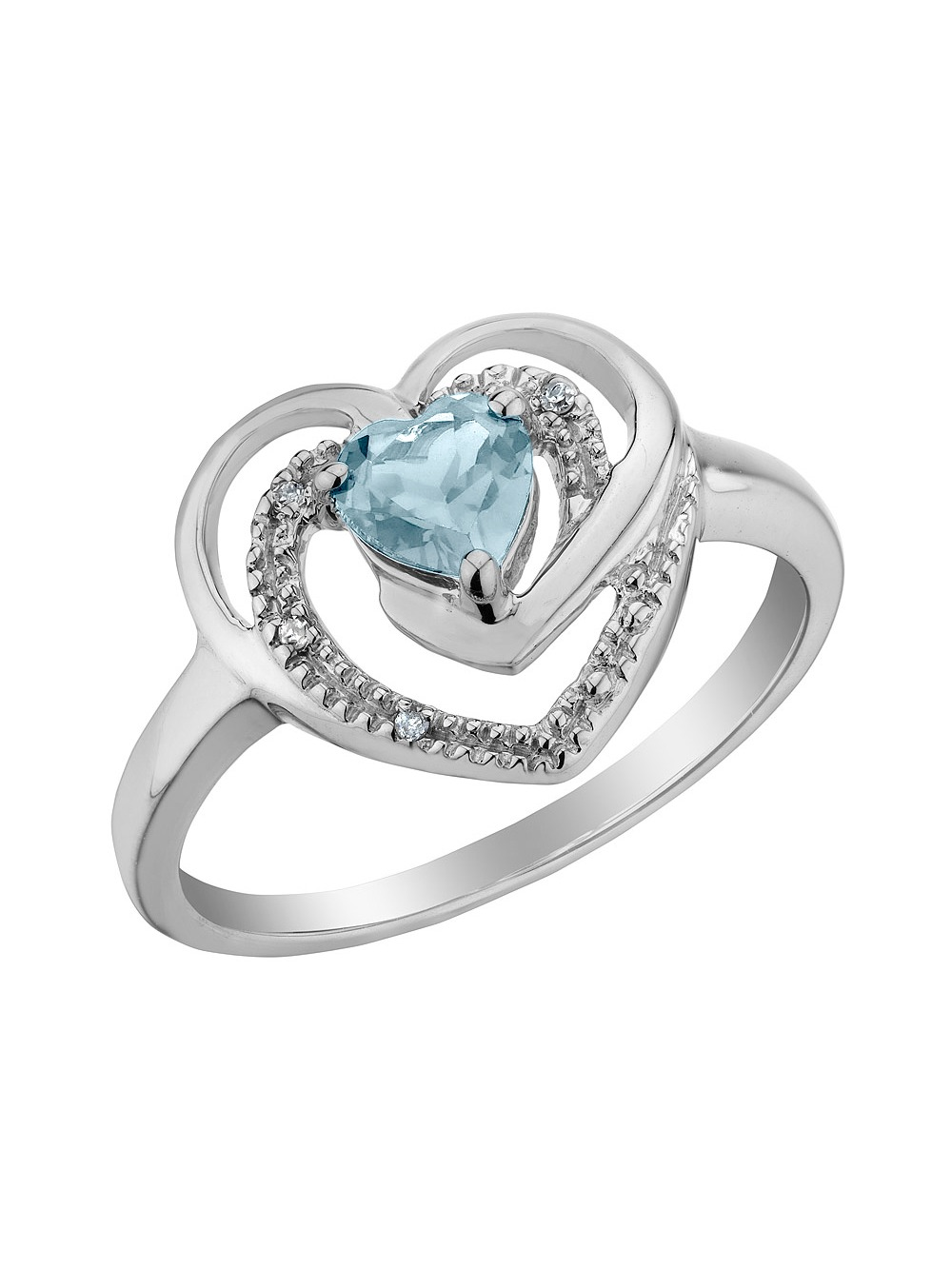 Aquamarine Heart Ring with Diamonds 1/3 Carat (ctw) in Sterling Silver