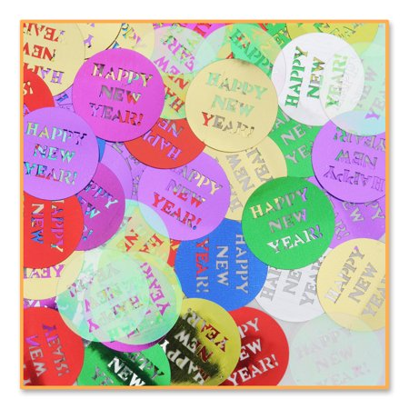 "Pack of 6 Metallic Multi-Colored ""Happy New Year"" Celebration Confetti Bags 0.5 oz.](Colored Confetti)"