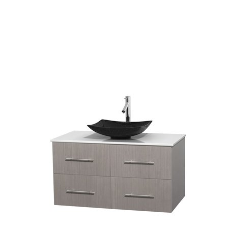Wyndham Collection Centra 42 Single Bathroom Vanity Grey Oak White Ma
