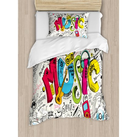 Music Twin Size Duvet Cover Set, Pop Art Featured Doodle Style Musical Background with Instruments Sound Art Illustration, Decorative 2 Piece Bedding Set with 1 Pillow Sham, Multi, by (Doodle Pops)