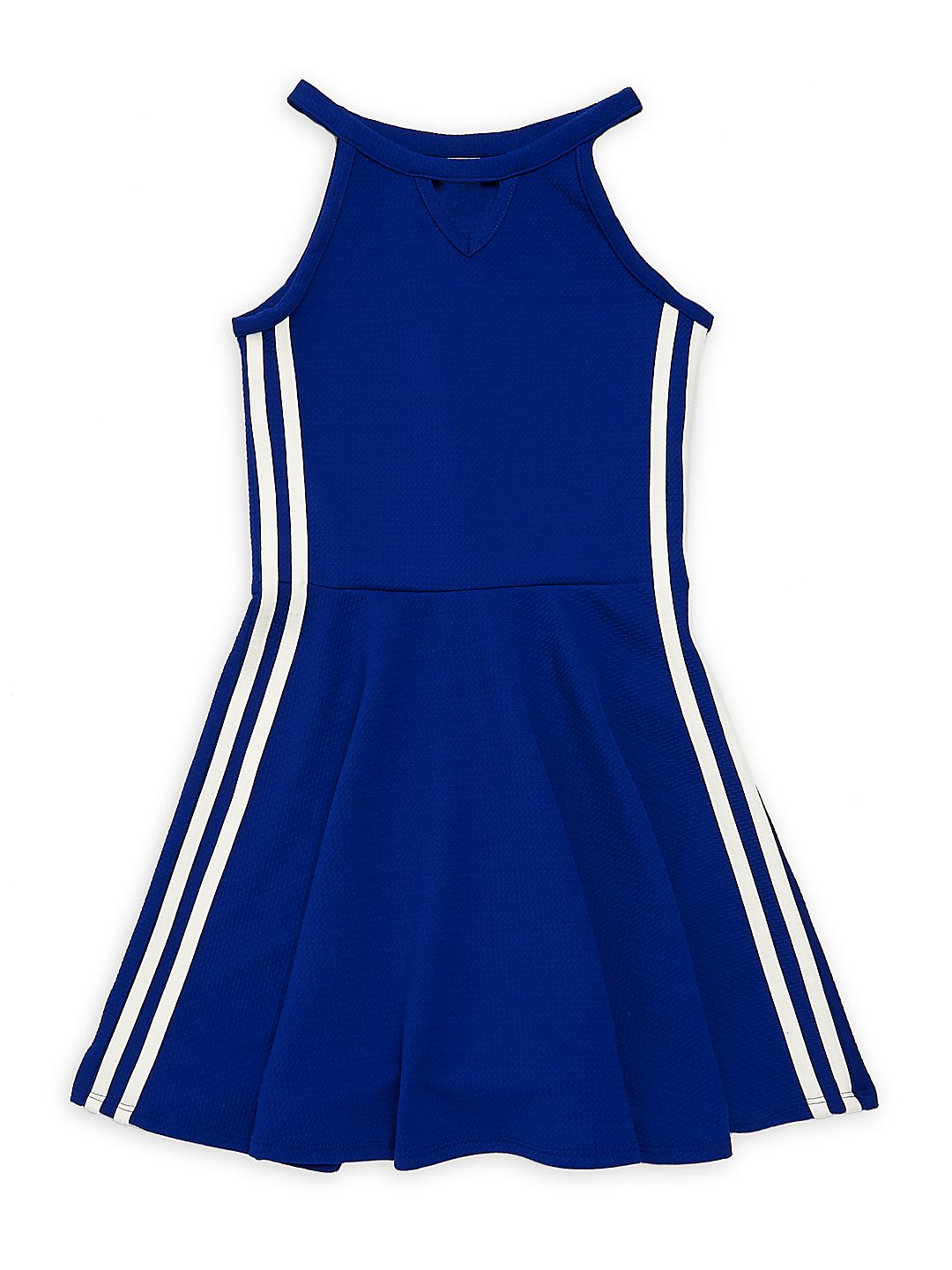 Girl's Side Striped Textured Dress