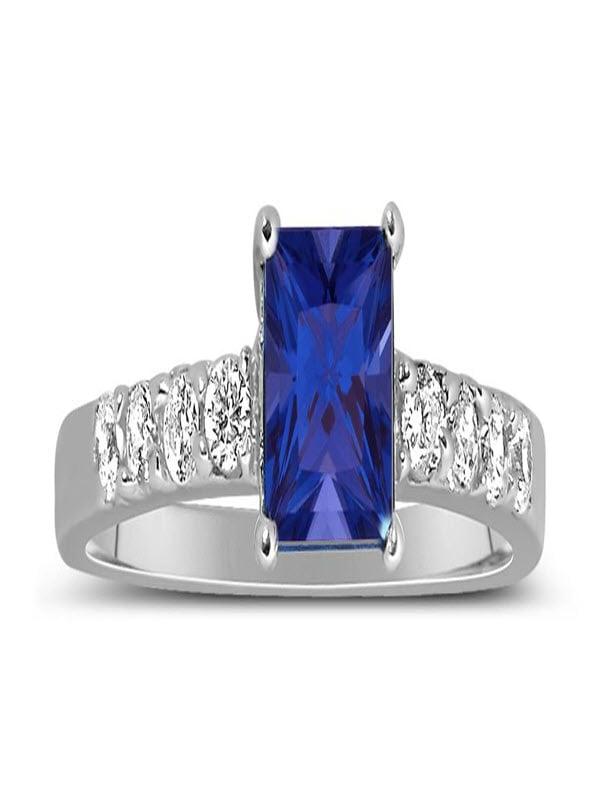 10K White Gold Princess Cut Blue Sapphire /& Cubic Zirconia Halo Engagement Ring
