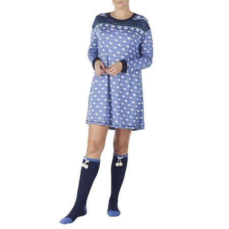 Secret Treasures Women's and Women's Plus Cozy Jersey Sleepshirt and Knee High Sock 2piece Giftable Sleepwear Set - Cheap Plus Size Onesies