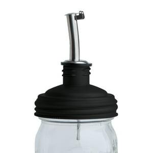 reCAP ADAPTA Pour Tap Oil Dispenser Mason Jar Lid, Regular Mouth - Black