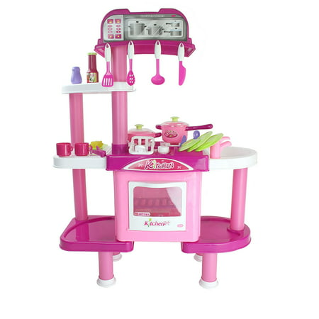 Beauty Kitchen Toy Pink Kitchen Playset w/ Toy Dishes, Utensils, Accessories, Rotating Washer Action, & Rinsing Dishwasher Action