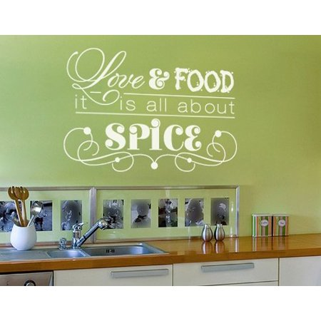 Love & Food, it's all About Spice Wall Decal - wall decal, sticker, mural vinyl art home decor, quotes and sayings - 4501 - White, 24in x 22in