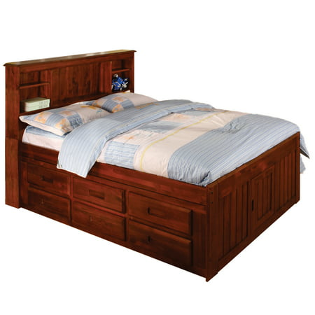 American Furniture Classics Model 2821-BCM, Solid Pine Bookcase Headboard Full with 6 drawers in Merlot