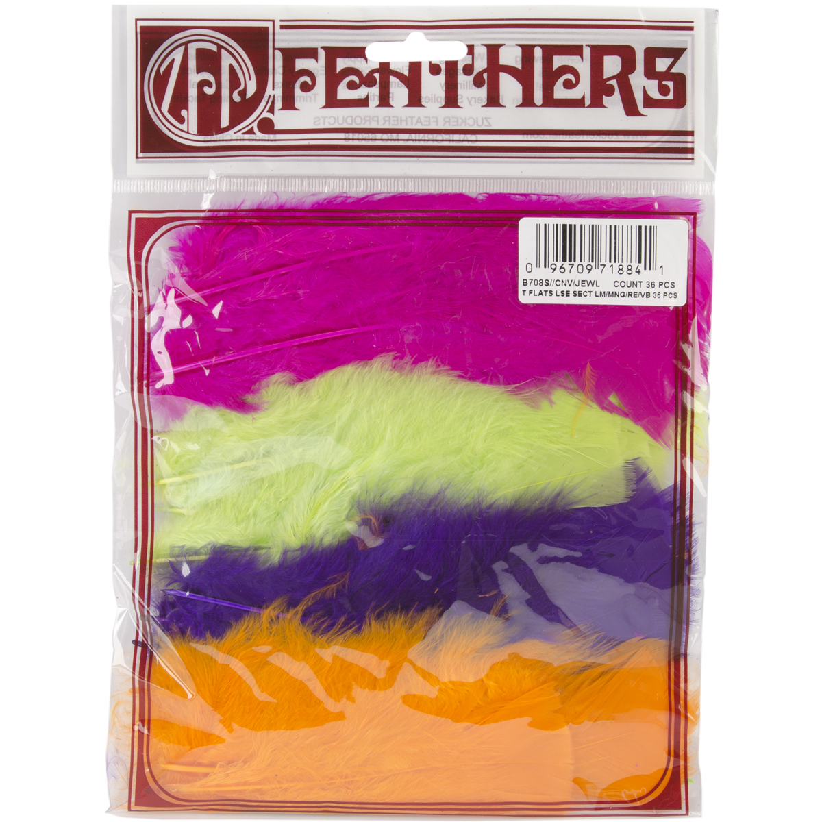 Turkey Flat Feathers 36/Pkg-Neon