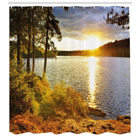 Landscape Shower Curtain, Sunset Dawn in the Forest over Lake of Two Rivers Algonquin Park Ontario Canada, Fabric Bathroom Set with Hooks, 69W X 70L Inches, Multicolor, by Ambesonne