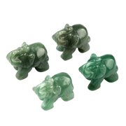 Follure 1Pcs Hand Carved Elephant Jade Gemstone Ornament Craft Paperweight Home Garden
