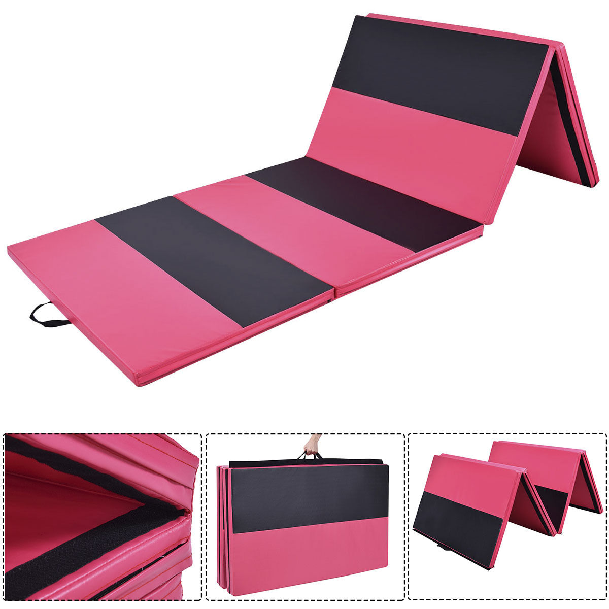 Costway 4'x10'x2''Gymnastics Mat Folding Panel Thick Gym Fitness Exercise Pink/Blk 2016