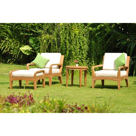 WholesaleTeak Outdoor Patio Grade-A Teak Wood 4 Piece Teak Sofa Lounge Chair Set - 2 Lounge Chairs, 1 Ottoman And 1 Round End Table - Furniture only - Noida COLLECTION #WMSSNO4 ()