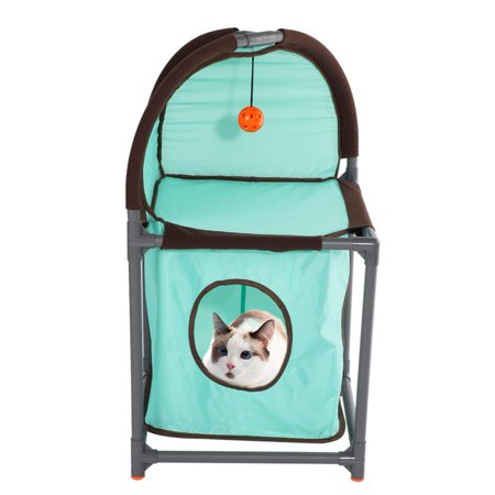 LHCER Double Layer Cat Climbing Frame Nest Scratching Barrel Removable