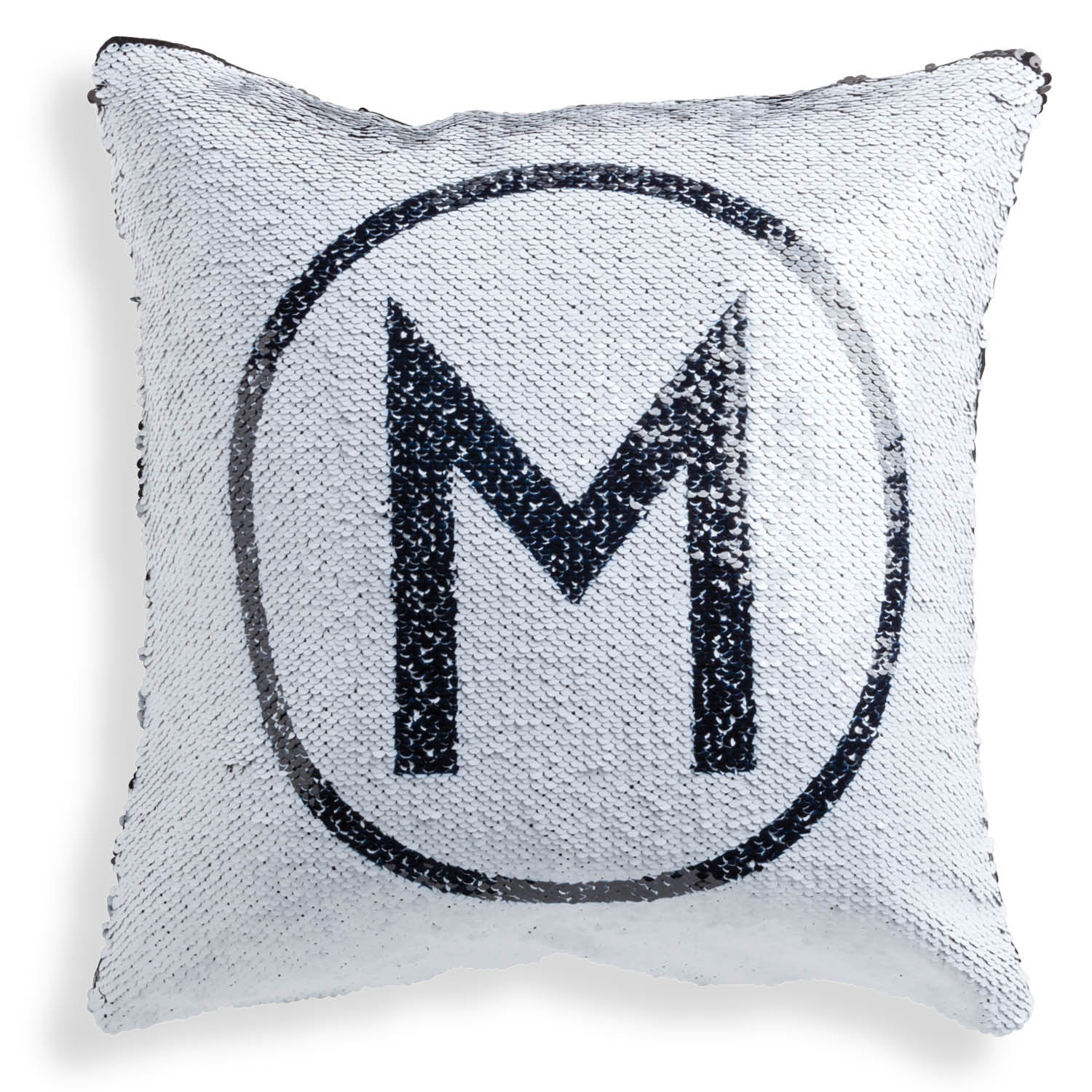 Personalized Black Sequin Pillow - Circle Initial - 16x16