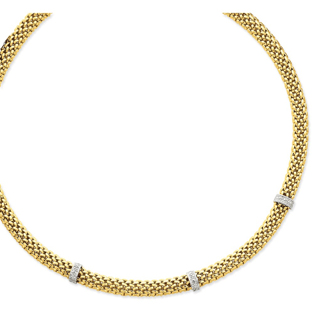 Solid 14k Gold Two-Tone 17in .05ct Completed Polished Diamond & Mesh Necklace Chain (9mm) by AA Jewels