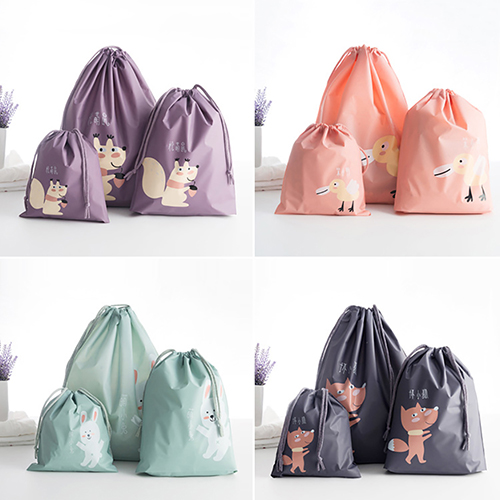 Girl12Queen Cute Cartoon Animals Drawstring Travel Laundry Shoes Toy Organizer Storage Bag