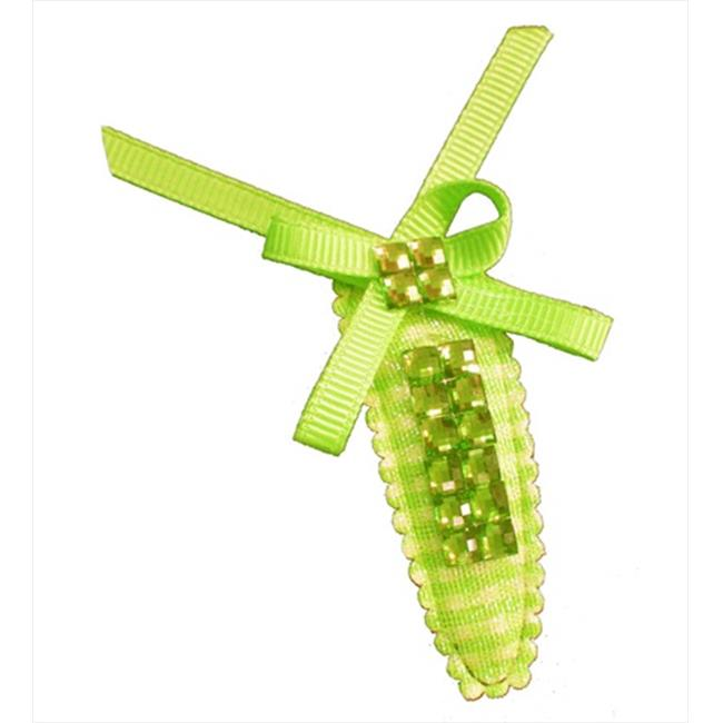CoverYourHair 60448 Green Shiny Stone Snap Clip With Small Bow