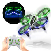 Sharper Image LED Stunt Drone, 2.4GHz RC Glow Up Stunt Drone with LED Lights, Mini Remote-Control Quadcopter with Assisted Landing, Small Plane for Kids and Beginners, Wireless and Rechargeable
