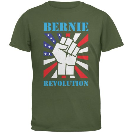 Election 2016 Bernie Sanders Raised Fist Revolution Military Green Adult T Shirt