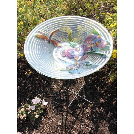 NorthLight 21 in. Hand Painted Glass Dragonfly And Flower Spring Outdoor Garden Bird Bath - image 1 de 1