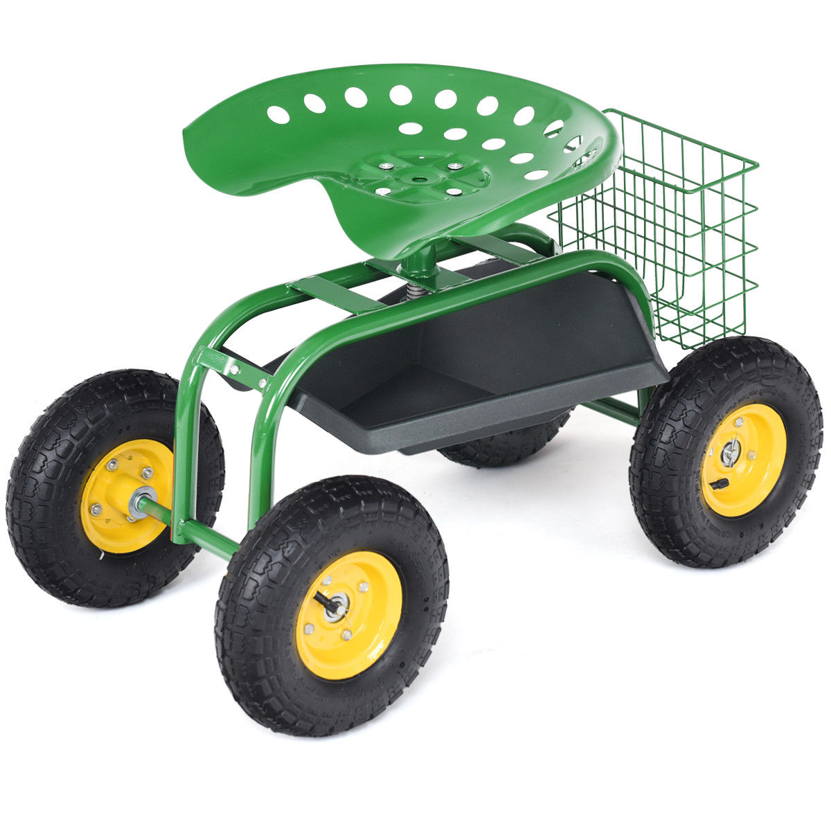 Superbe Costway Rolling Tray Gardening Planting With Work Seat Garden Cart