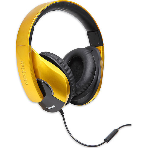 Oblanc OG-AUD63070 SHELL200 Lightweight and Comfortable Fit Audio Headphones with In-line Microphone, Golden