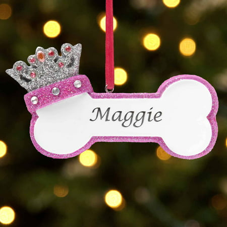 Personalized Princess Dog Bone Christmas Ornament