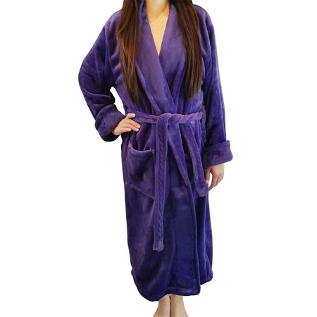 Women's Full Length Shawl Collar Velour Microfiber Fleece Bathrobe Spa Robe