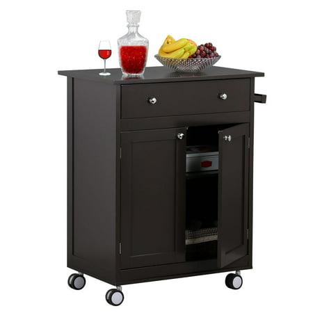 Rolling Wood Kitchen Trolley Kitchen Island Cart With Drawer Storage ...