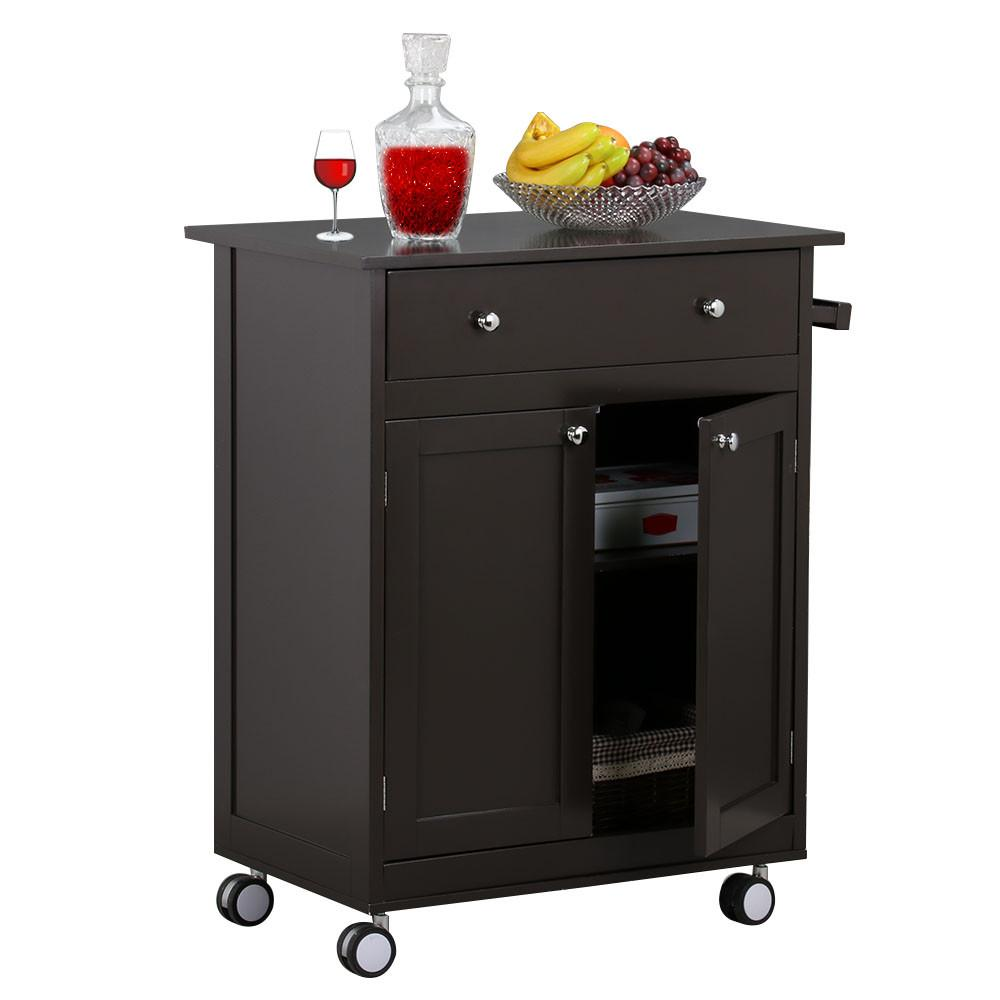 Rolling Wood Kitchen Cart With Drawer Storage Cabinet, Coffee