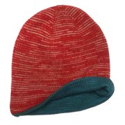 Aquarius Boys Reversible Red Speckle Beanie Hat Stocking Cap