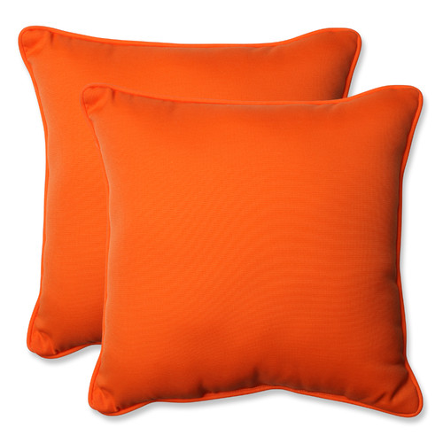 Pillow Perfect Outdoor/ Indoor Sundeck Orange 18.5-Inch Throw Pillow (Set of 2)