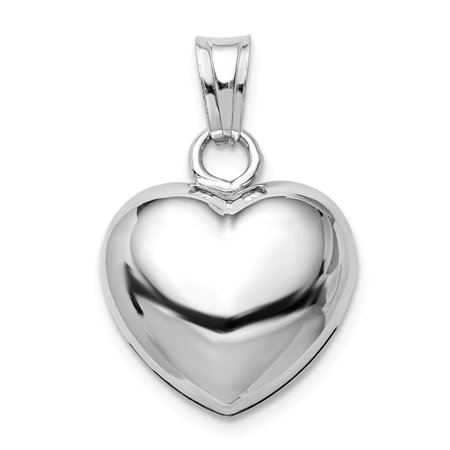 Sterling Silver Polished Bell inside Puffed Heart Charm Pendant Heart Silver Bell