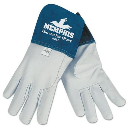 Goat Mig/Tig Welders Gloves, Premium Grade Grain Goatskin, Large, White/Blue