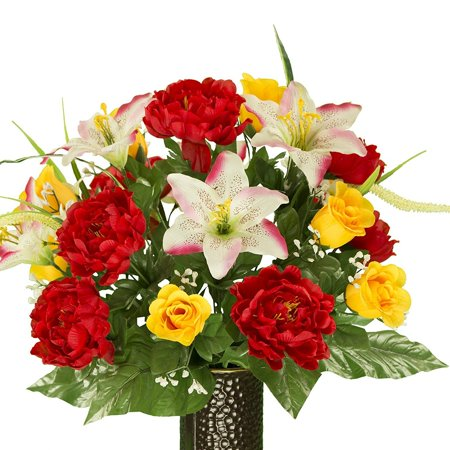 Cream Pink Stargazer with Red Peony and Yellow Roses Artificial Bouquet, featuring the Stay-In-The-Vase Design(c) Flower Holder (SM1761)