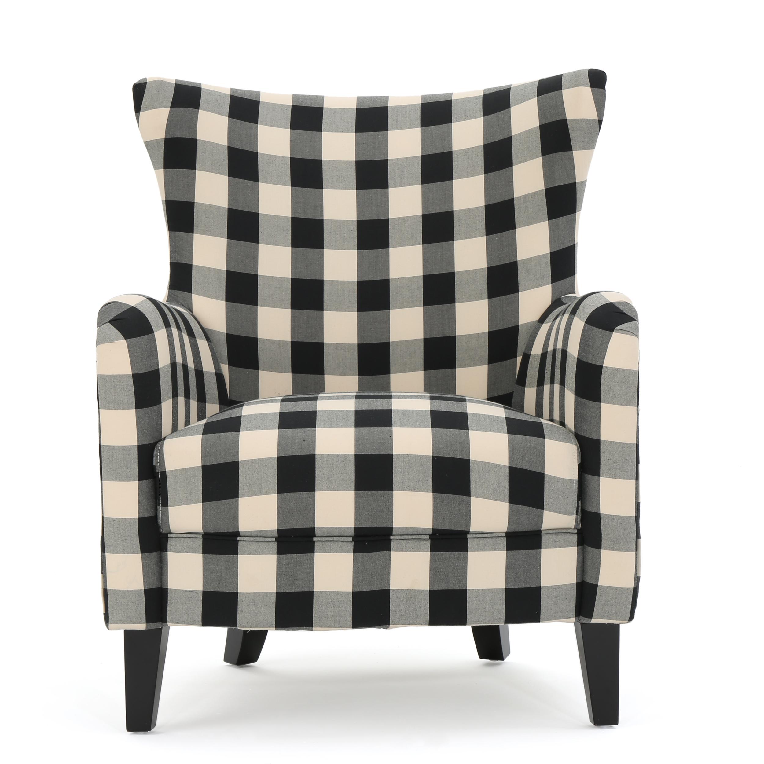 Arador Fabric Club Chair, Black & White Plaid by GDF Studio