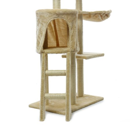 """55"""" Large Cat Tree Scratcher Cat Climbing Scratching Tower Post Condo Furniture Soft Pet Play House With Hanging Toys Pet Sleeping House 2 colors - image 6 of 7"""