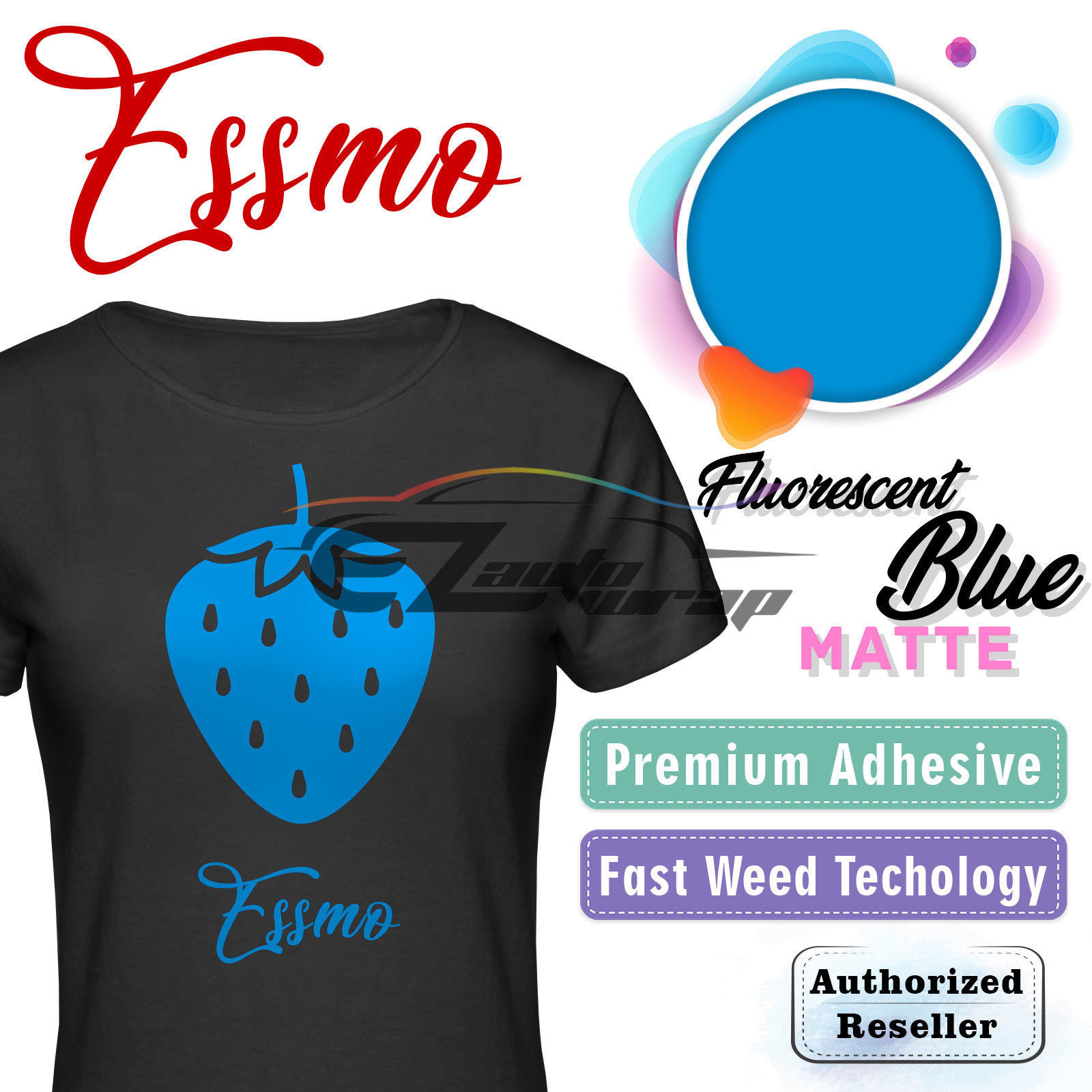 "ESSMO Fluorescent Blue Matte Solid Heat Transfer Vinyl HTV Sheet T-Shirt 20"" Wide Iron On Heat Press 20""x12"""