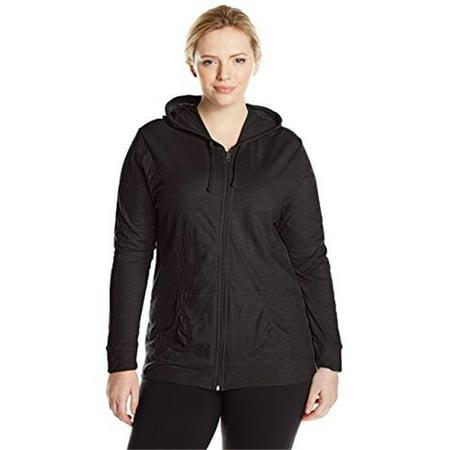 90563105816 Womens Full Zip Jersey Hoodie - Black, 4X
